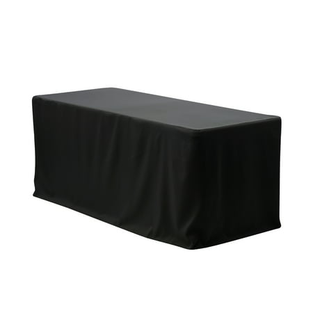 Your Chair Covers - 6 ft. Fitted Polyester Tablecloth Rectangular - Black Vinyl Table Covers