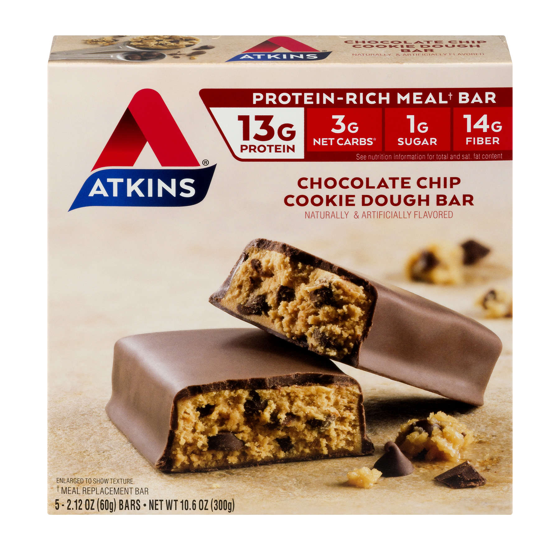 Atkins Chocolate Chip Cookie Dough Bars, 2.1oz, 5-pack (Meal Replacement)