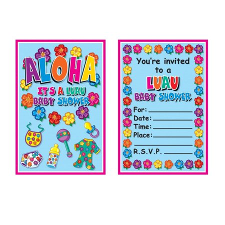 Club Pack of 96 Blue, Pink, Floral Print Hula Baby Invitations 5.5