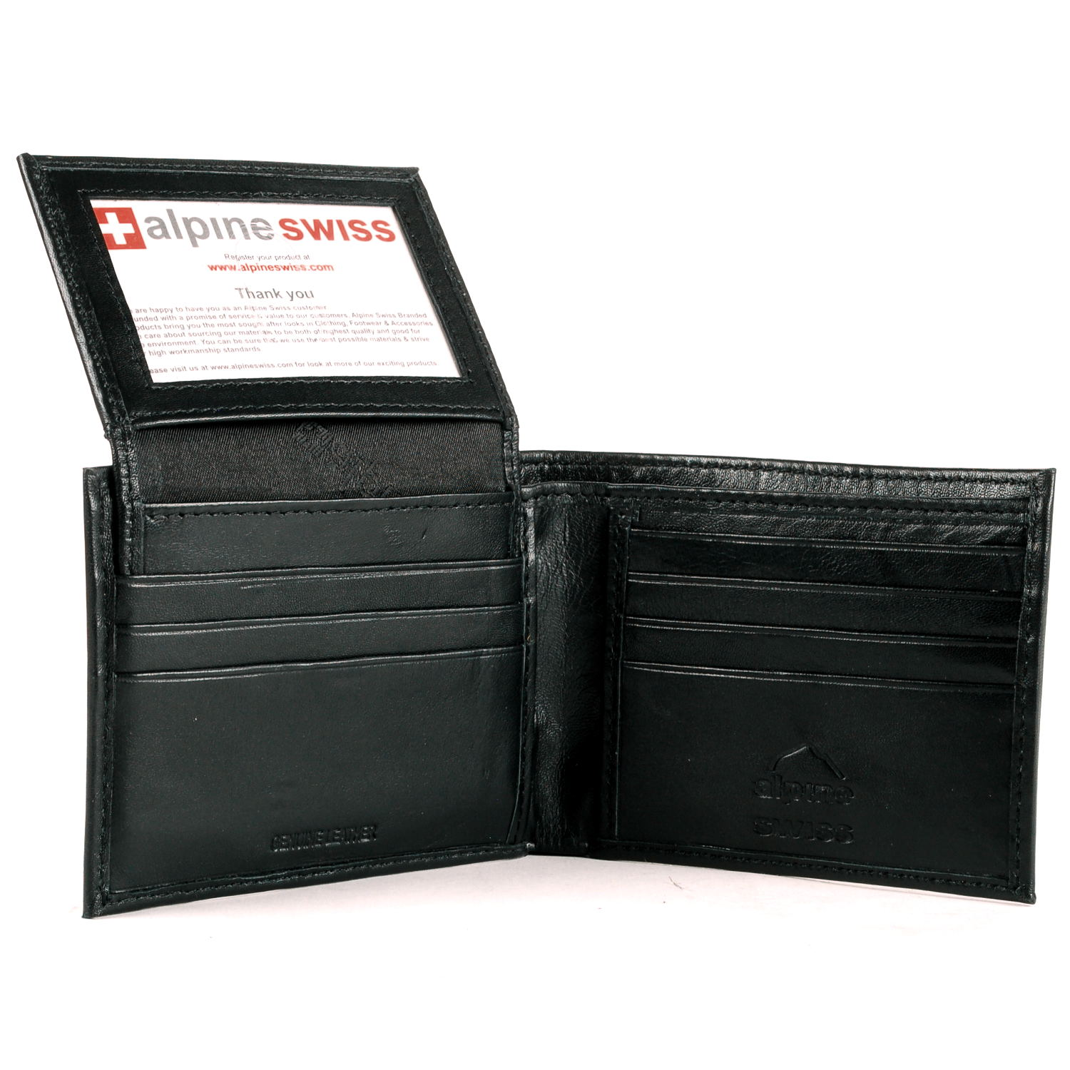 Alpine Swiss Mens Bifold Wallet Flip Out Removable ID Card Case ...