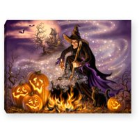 "8"" Purple and Orange All Hallow's Eve Lighted Halloween Tabletop Decor"
