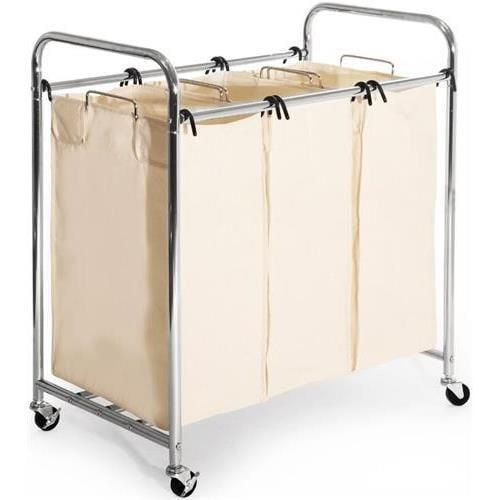 Seville Classics Mobile 3-Bag Heavy-Duty Laundry Hamper Sorter Cart by Seville Classics