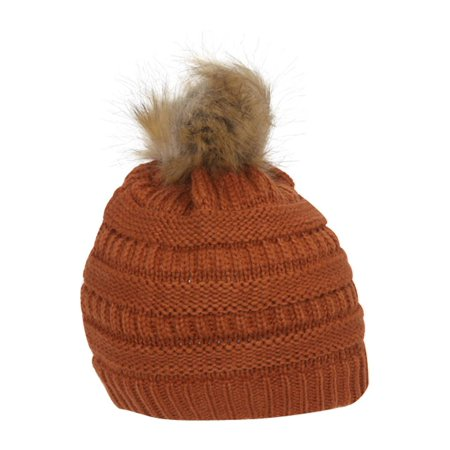 4ccfbe8c7d0 Gravity Threads Cable Knit Faux Fur Pom Pom Beanie Hat - image 1 of 2 ...