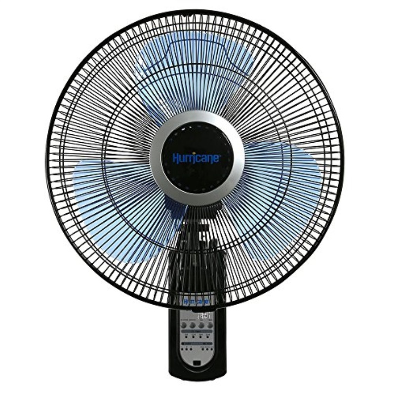 hurricane wall mount fan - 16 inch   super 8   wall fan with figure 8 pattern technology, remote control included, 3 speed settings, 3 oscillating settings - etl listed, black