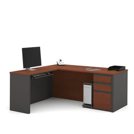 Bestar Prestige L-Shaped Workstation with Single Pedestal - Bordeaux and Graphite