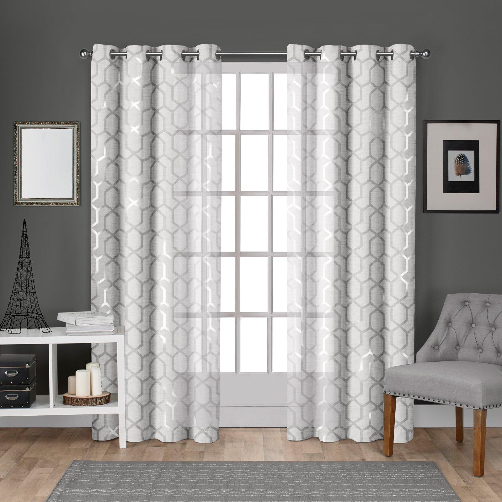 Exclusive Home Curtains 2 Pack Panza Metallic Geometric Print Sheer Grommet Top Curtain Panels