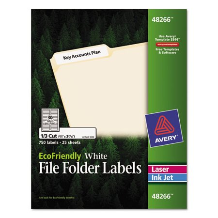 Avery EcoFriendly File Folder Labels, 2/3 x 3 7/16, White, 750/Pack