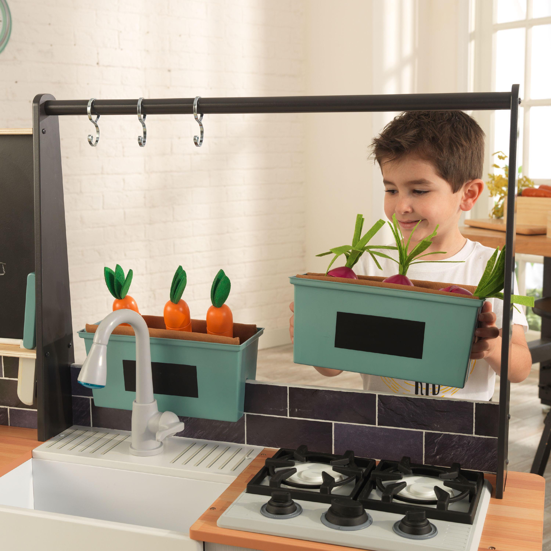 Kidkraft Farm To Table Play Kitchen With Ez Kraft Assembly And 18 Piece Accessory Play Set Walmart Com Walmart Com