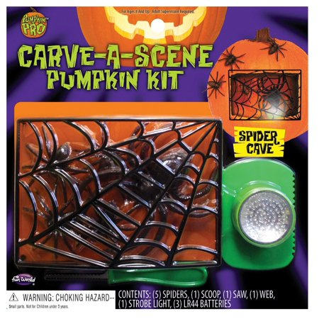 Fun World Carve-A-Scene Spider Cave 8pc Pumpkin Carving Kit, Black - Pumpkin Spiders
