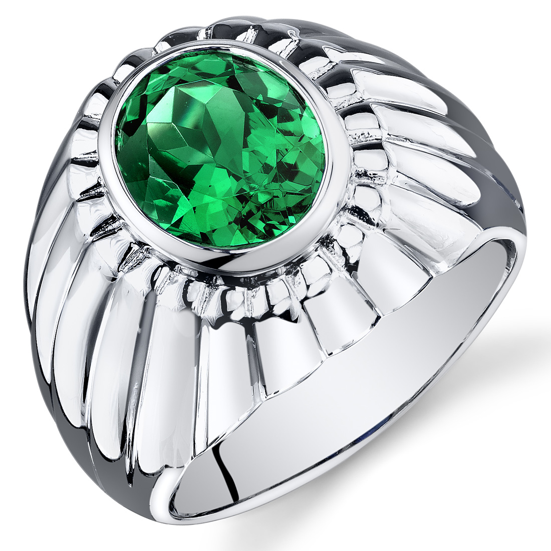 Peora 3.75 Ct Men's Created Emerald Engagement Ring in Rhodium-Plated Sterling Silver