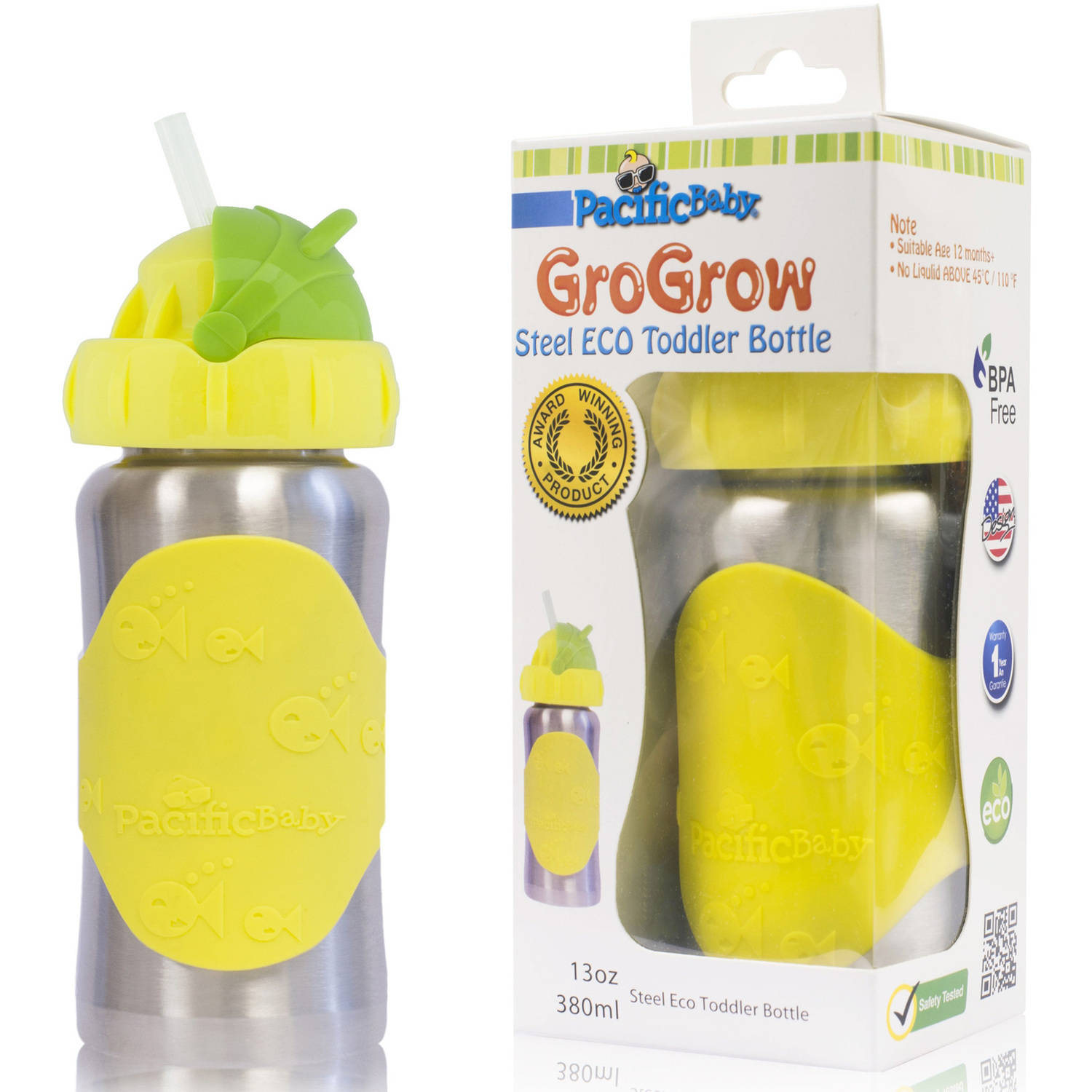 Pacific Baby GroGrow Eco Toddler Bottle Sippy Cup - Stainless Steel