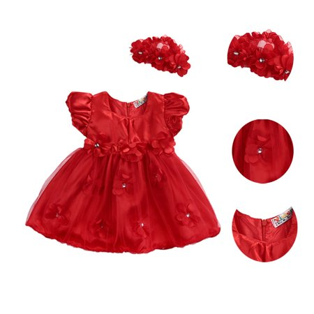 Christmas Newborn Baby Girls Princess Dress Party Wedding Photo Props Outfits + Headband ()