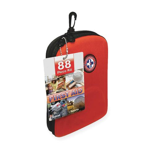 MEDIQUE Travel First Aid Kit, Bulk, Red, 88 Pcs 40088