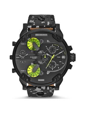 Diesel Men's 57mm Black Leather Band Steel Case Quartz Analog Watch DZ7311