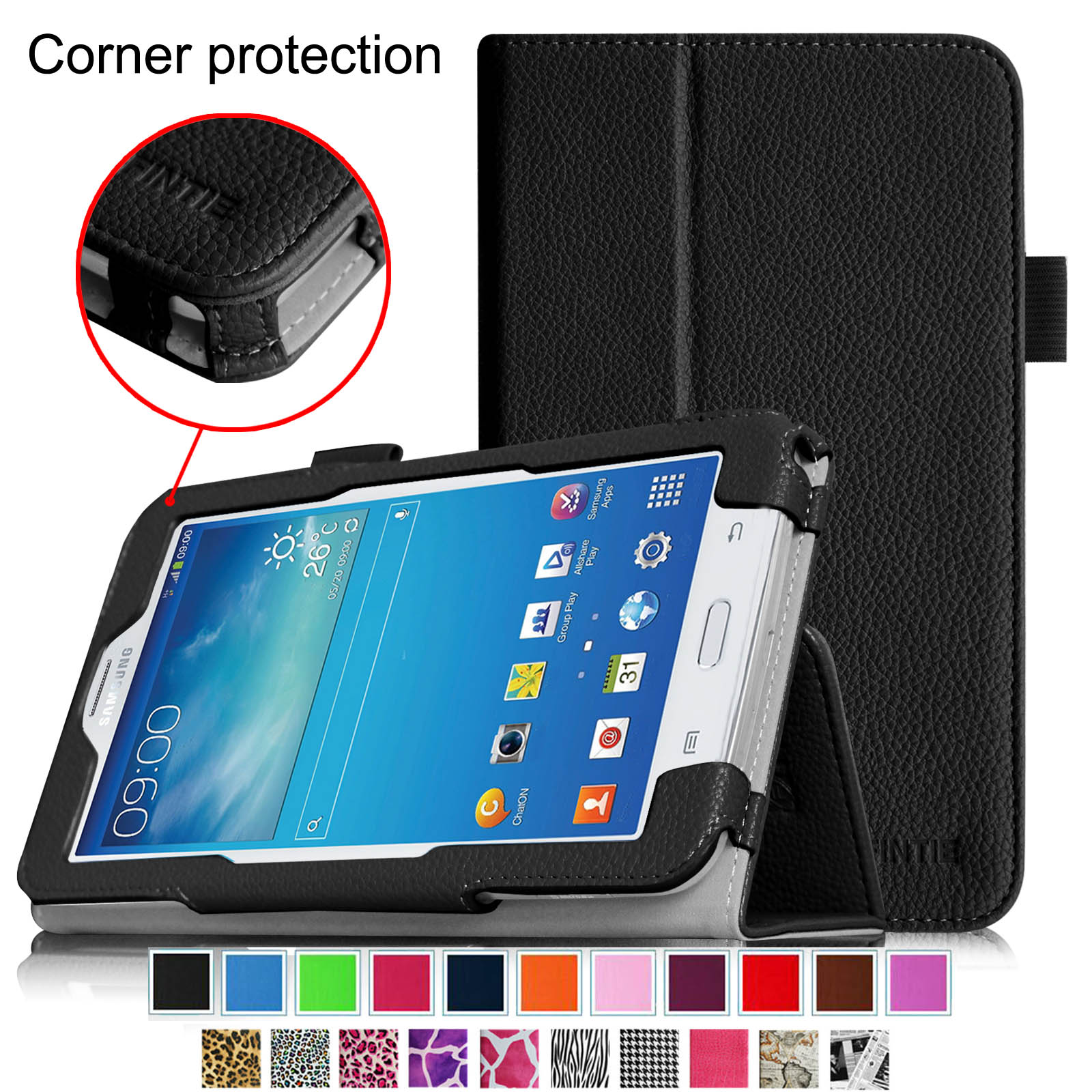 Fintie Folio Case for Samsung Galaxy Tab E Lite 7.0 SM-T113 / Tab 3 Lite 7.0 SM-T110 SM-T111 Tablet Stand Cover, Black