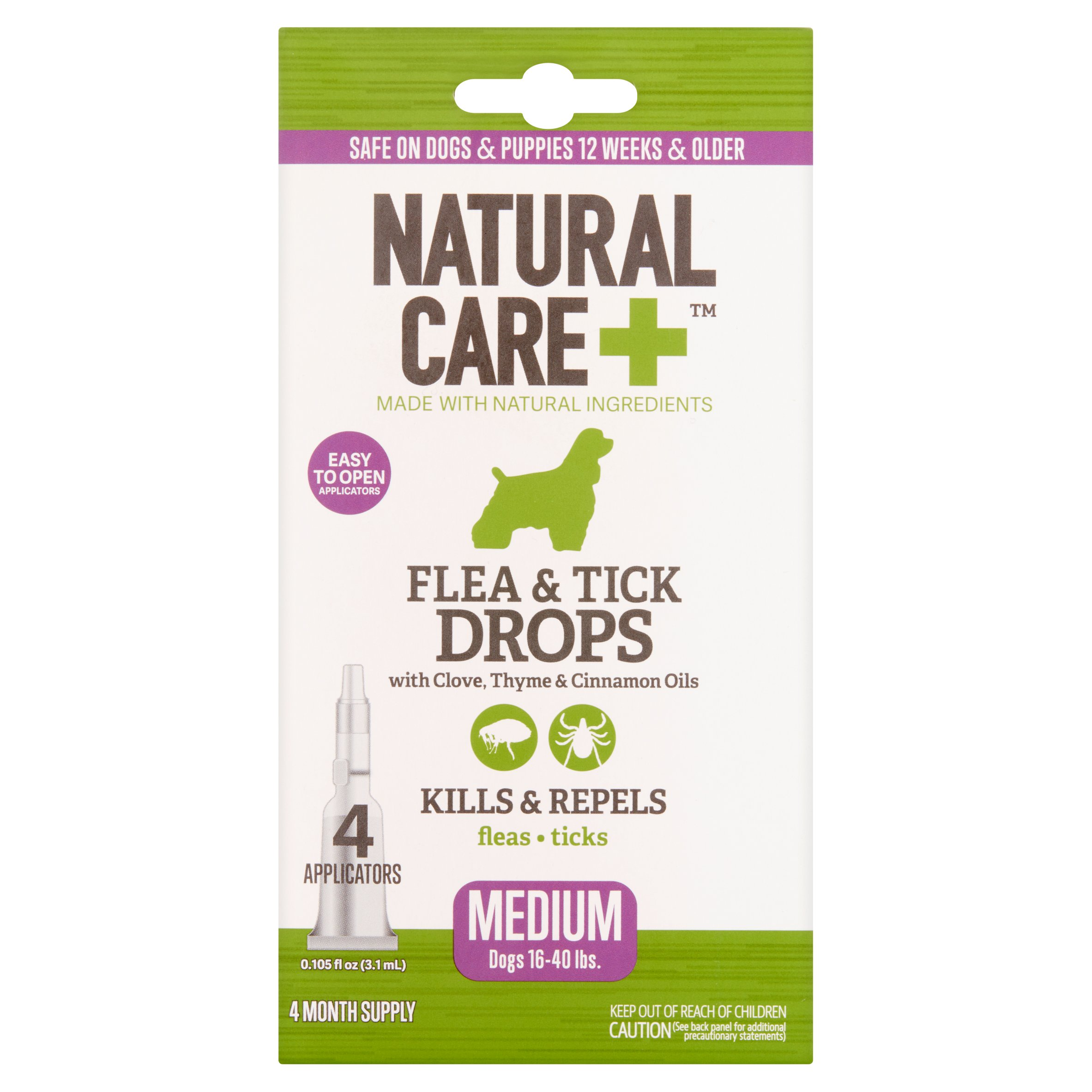 Natural Care+ Flea & Tick Drops with Clove, Thyme & Cinnamon Oils, 0.105 fl oz, 4 count