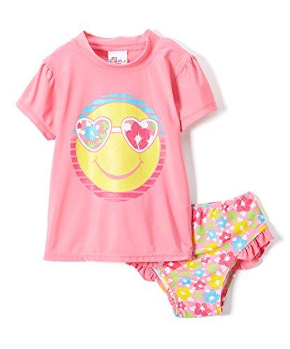 BABY GIRLS RASHGUARD 2 Piece Set Sizes: 12M-24M (12M, Pink)