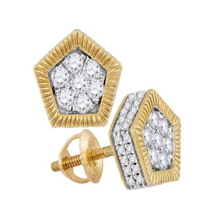 - 10kt Yellow Gold Womens Round Diamond Polygon Rope Frame Flower Cluster Earrings 3/4 Cttw