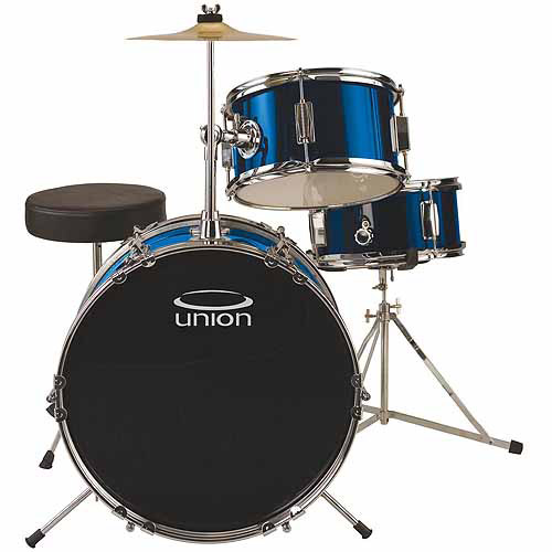 Union UJ3 3-Piece Junior Drum Set w/ Hardware, Cymbal & Throne - Metallic Dark Blue