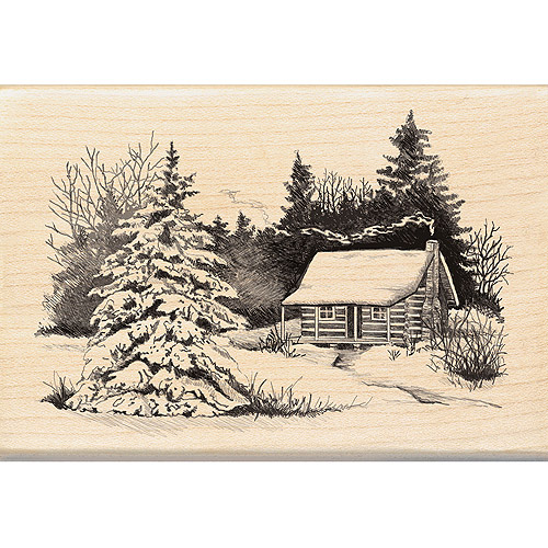 "Inkadinkado Christmas Mounted Rubber Stamp, Snowy Cabin 2.75"" x 4"""
