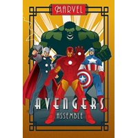 "The Avengers - MarvelWalmartics Poster (Art Deco Design) (Iron Man, Captain America, Thor & The Hulk) (Size: 24"" x 36"") By POSTER STOP ONLINE,USA"