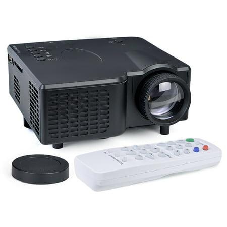 Portable Mini LED Projector HDMI VGA USB LCD Image SD Slot & Remote – Black