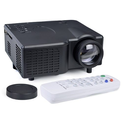 Portable Mini LED Projector HDMI VGA USB LCD Image SD Slot & Remote - Black