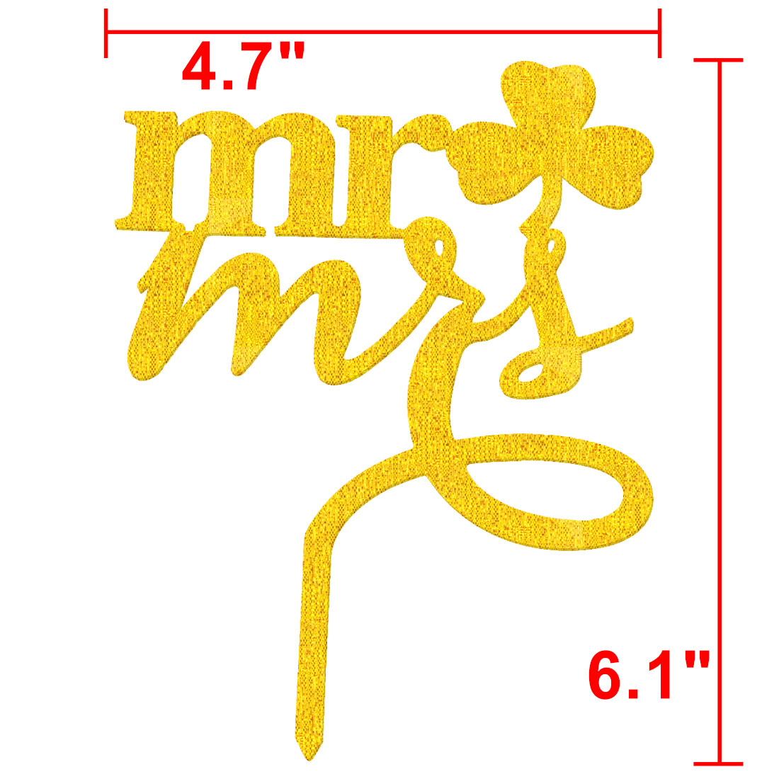 Party Acrylic Mr and Miss Shaped DIY Cupcake Decoration Cake Topper Gold Tone - image 1 of 4