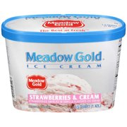 Meadow Gold Strawberries And Cream Ice Cream, 1.5 qt