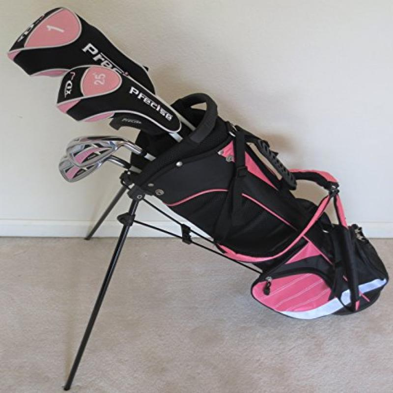 Girls Junior Golf Club Set with Stand Bag for Kids Ages 8-12 Pink Color Right Handed by