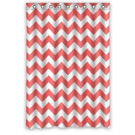 MOHome Coral And White Chevron Zig Zag Pattern By Shower