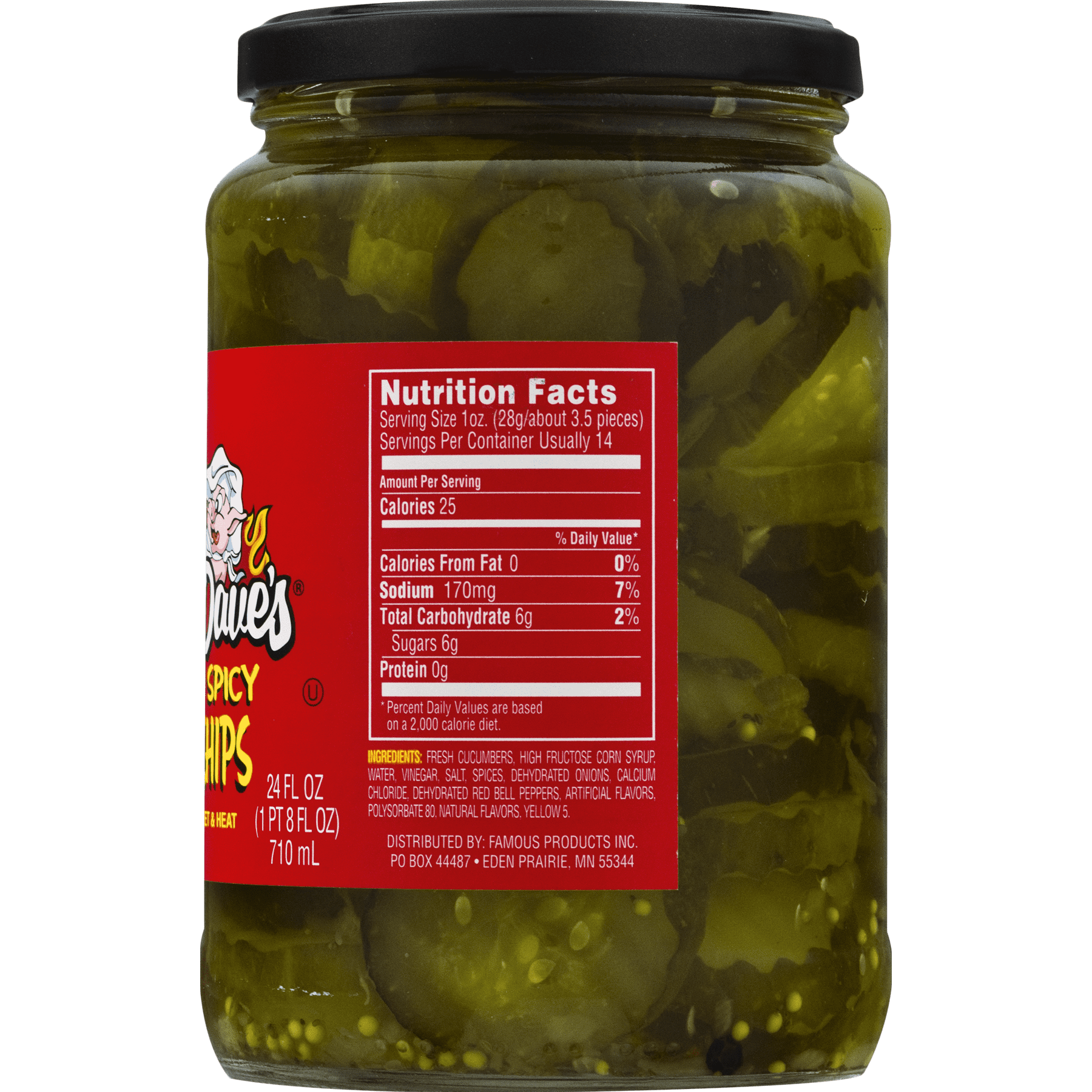 Famous Dave's Signature Spicy Pickle Chips 24 fl  oz  Jar - Walmart com
