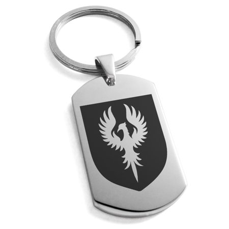 - Stainless Steel Phoenix Resurrection Coat of Arms Shield Engraved Dog Tag Keychain Keyring