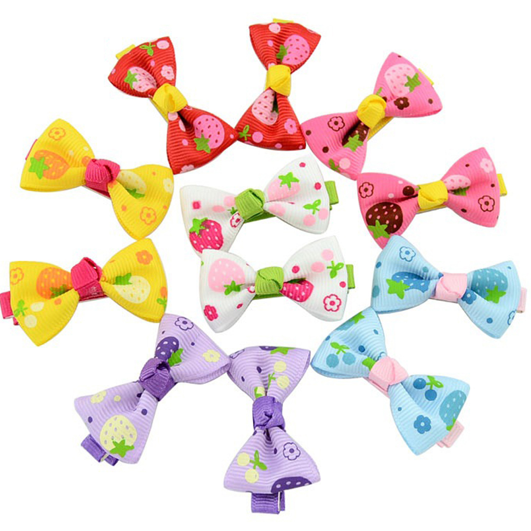 Coxeer 20Pcs Baby Girls Grosgrain Ribbon Dot Hair Bows Clips Fashion Headbands Hair Accessories for Kids Teen Girls Women (Colorful)