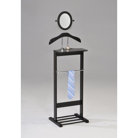 Wood Valet - Edward Black Wood & Chrome Metal Contemporary Cloth, Coat, Suit & Hat Valet Stand Organizer Rack With Mirror, Hanger, Shelf & Rack