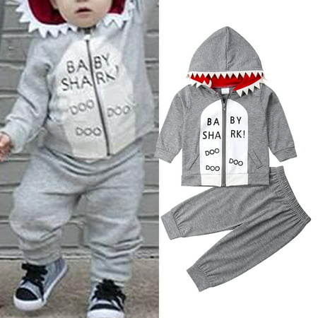 2PCS Toddler Baby Boy Spring Autumn Clothes Shark Hooded Sweater+Pants Leggings Outfits Set 6-12 Months