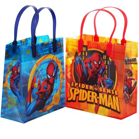 Spiderman Birthday Favors (Spiderman Authentic Licensed 12 Party Favor Reusable Goodie Medium Gift Bags)