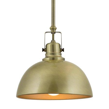 "Kira Home Belle 9"" Contemporary Industrial 1-Light Pendant Light, Adjustable Length + Shade Swivel Joint, Brushed Brass"