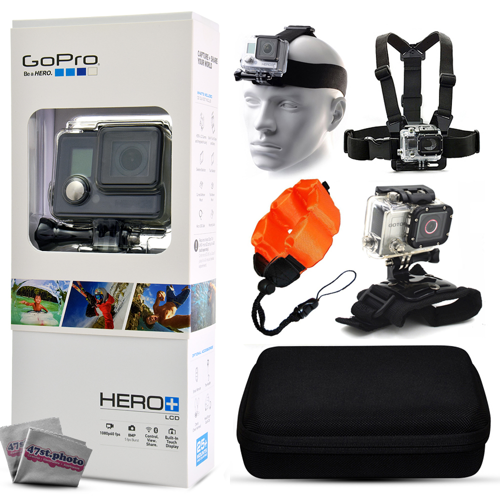 GoPro HERO+ LCD CHDHB-101 with Headstrap + Chest Harness Mount + Floaty Strap + Wrist Glove Strap + Premium Case