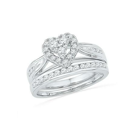 10kt White Gold Womens Round Diamond Heart Bridal Wedding Engagement Ring Band Set 1/2 Cttw