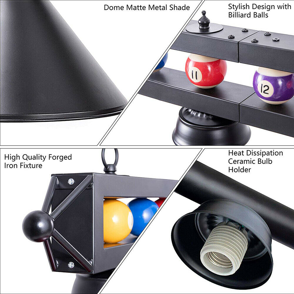 Wellmet Lampe de table de billard pour table de billard de 2,1 m 2,7 m et table de billard bleu 1.5m-3 Lights 2,4 m M/étal