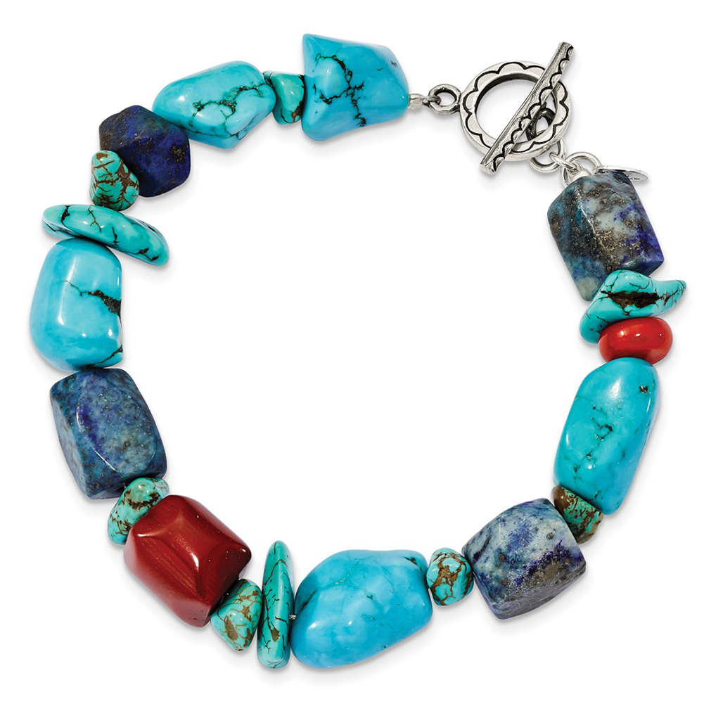 """Sterling Silver Red Coral Howlite Lapis & Turquoise Bracelet QH4565-8"""" by"""