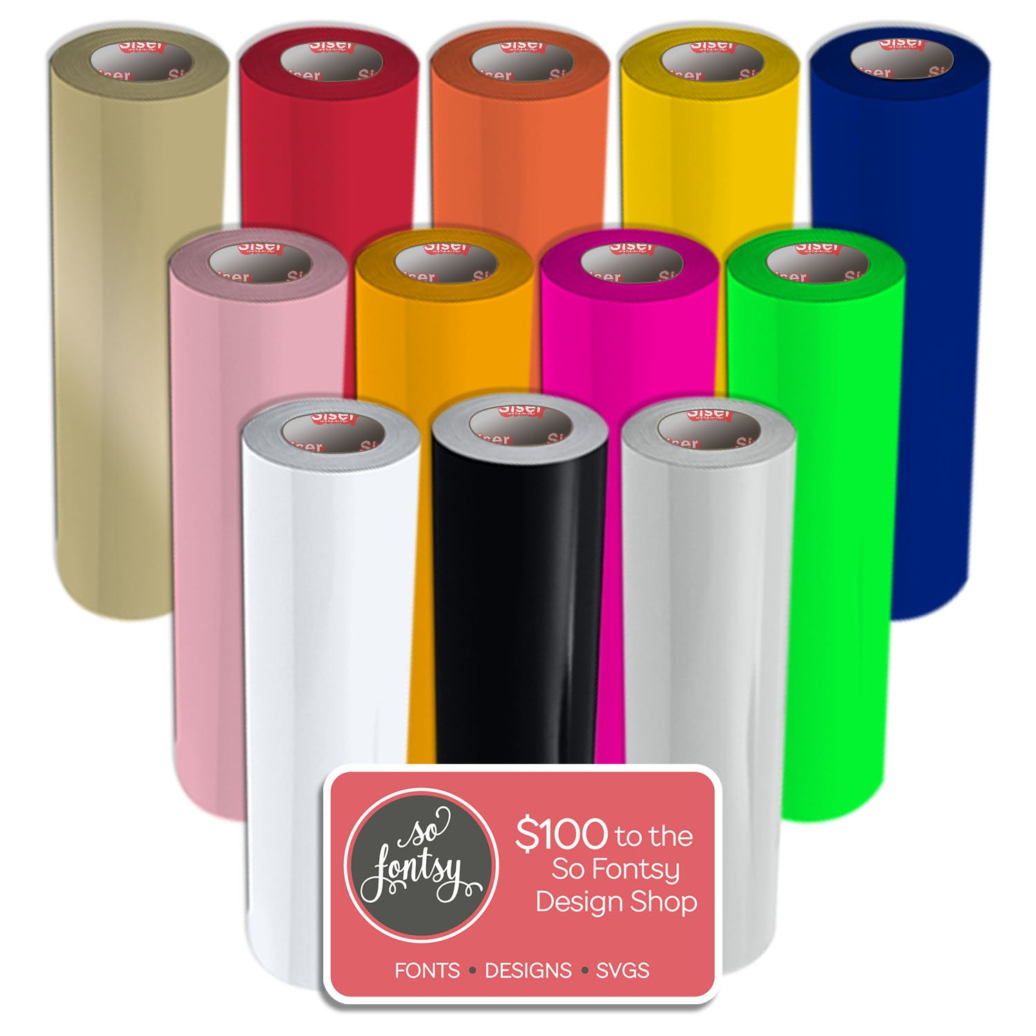"""Siser EasyWeed Heat Transfer Vinyl, 15"""" x 3' Rolls, 12 Pack Top Colors with Design Card"""