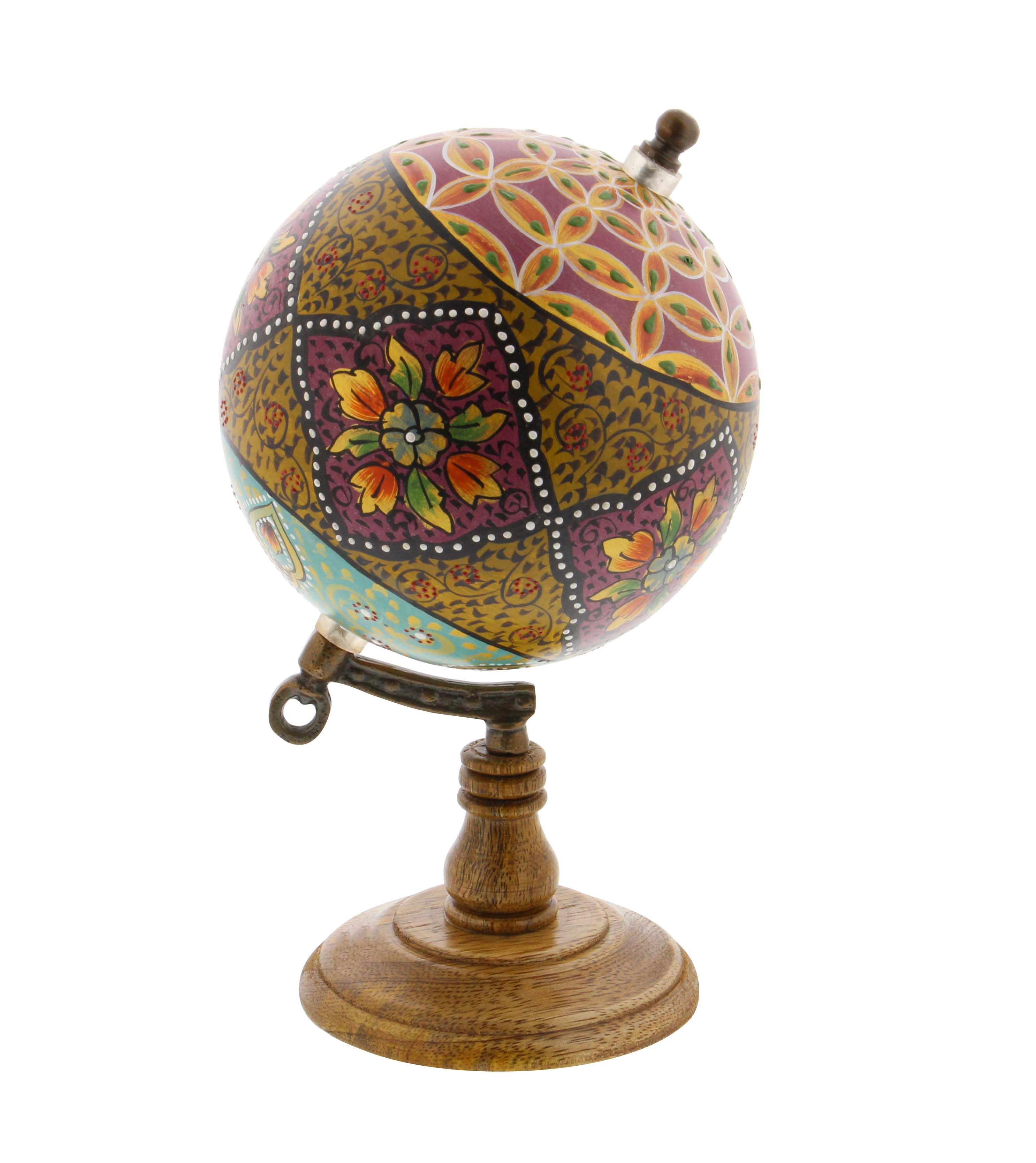 Decmode Traditional 9 Inch Resin And Wood Decorative Floral Globe, Multicolor