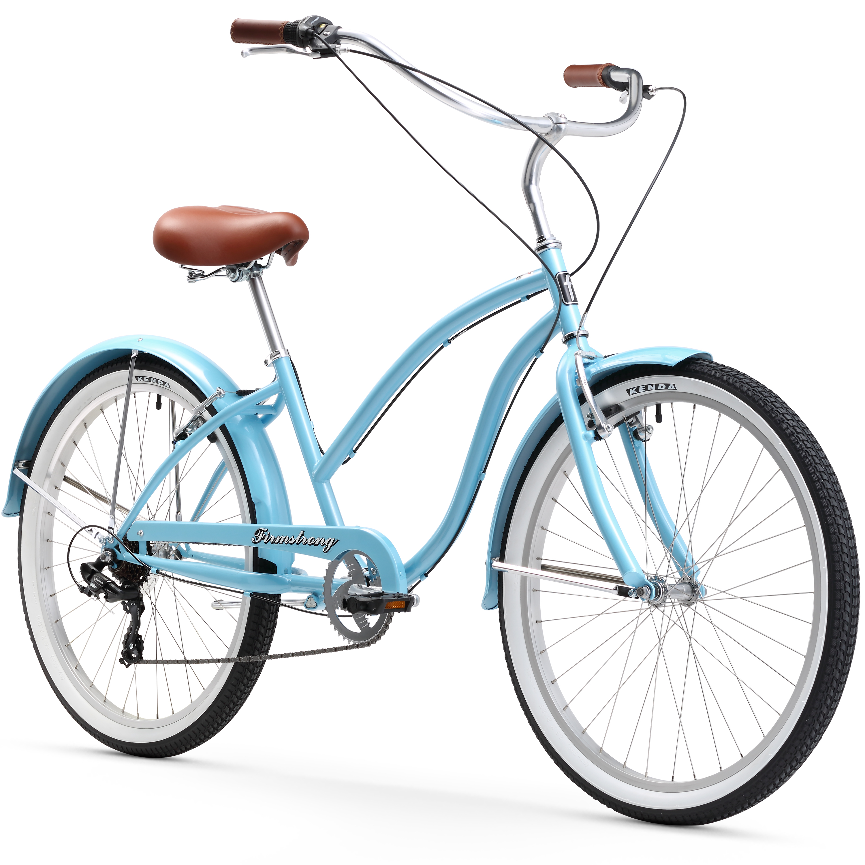 """26"""" Firmstrong Chief Lady Seven Speed Beach Cruiser Women's Bicycle, Baby Blue"""