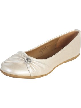 Dempsey Marie Infant and Girl's Flat Shoes with Rhinestone Heart - Available in Ivory or White