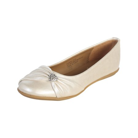 Dempsey Marie Infant and Girl's Flat Shoes with Rhinestone Heart - Available in Ivory or White - Ivory Dress Shoes For Girls