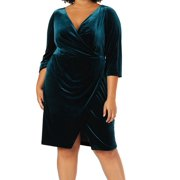 Womens Dress Plus Sheath Velvet Surplice 18W