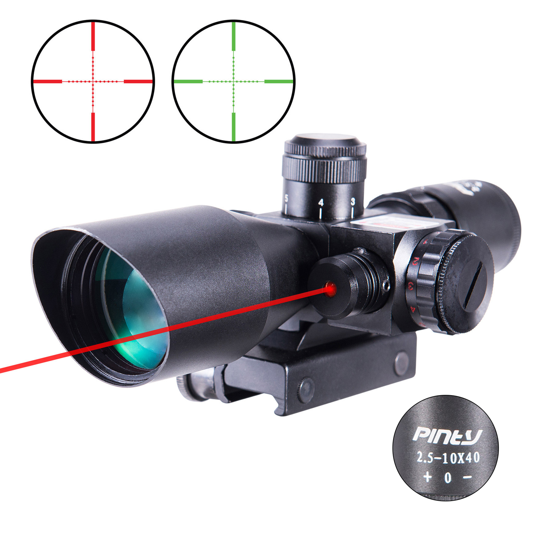 Pinty 2.5-10x40 Tactical Rifle Scope Mil-dot Dual Illuminated w/ Red Laser & Mount