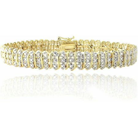 1 Carat T.W. Diamond Gold-Tone S-Pattern Tennis Bracelet ()